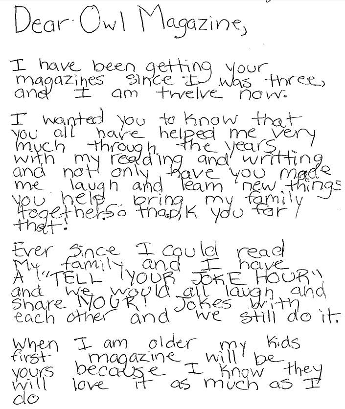 OWL reader letter