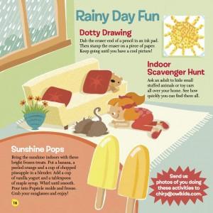 chirp magazine rainy day activities - popsicle recipe- scavenger hunt