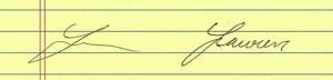 Signature legibility.