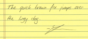 """Graphology analysis - """"The quick brown fox jumps over the lazy dog."""""""
