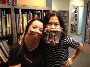 chickaDEE editors wear funny masks for Halloween