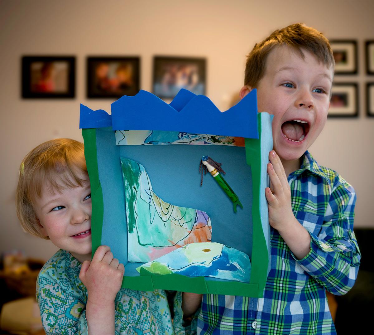 Chirp readers make a diorama