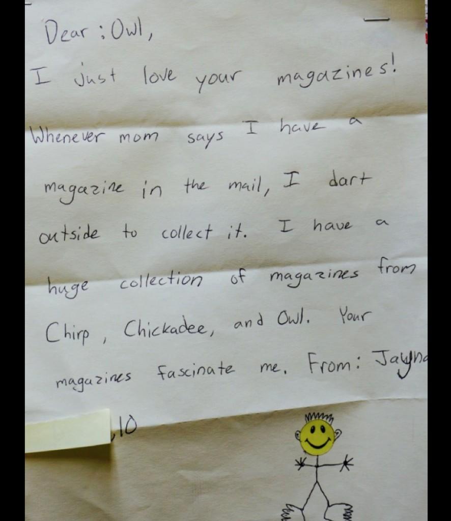 OWL reader Jayna letter