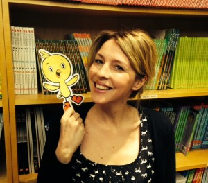 Me and Chirp hanging out by the Owlkids bookshelf
