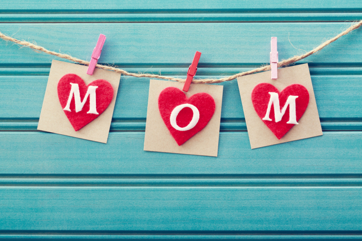 Mothers day message on felt hearts