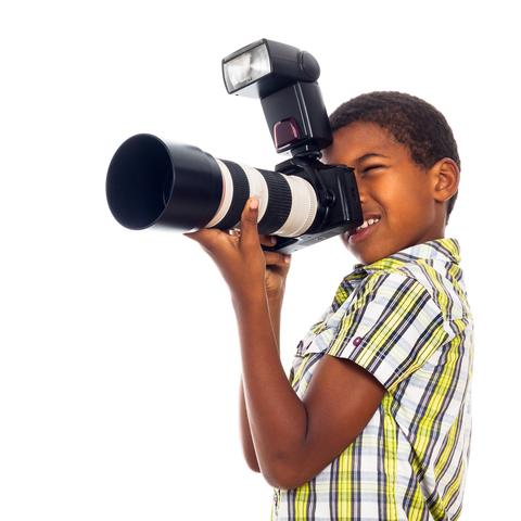 kid taking photo