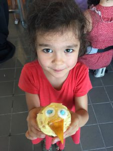 Vivian, 5, decorated her very own Chirp cupcake!