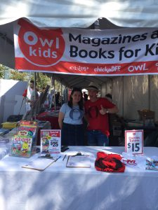 Chirp/chickaDEE Asst Editor Melissa and OWL editor Kendra working the Owlkids booth.