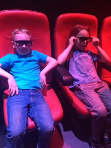 Waiting for the Ninjago 4-D movie to begin. These glasses are the coolest!