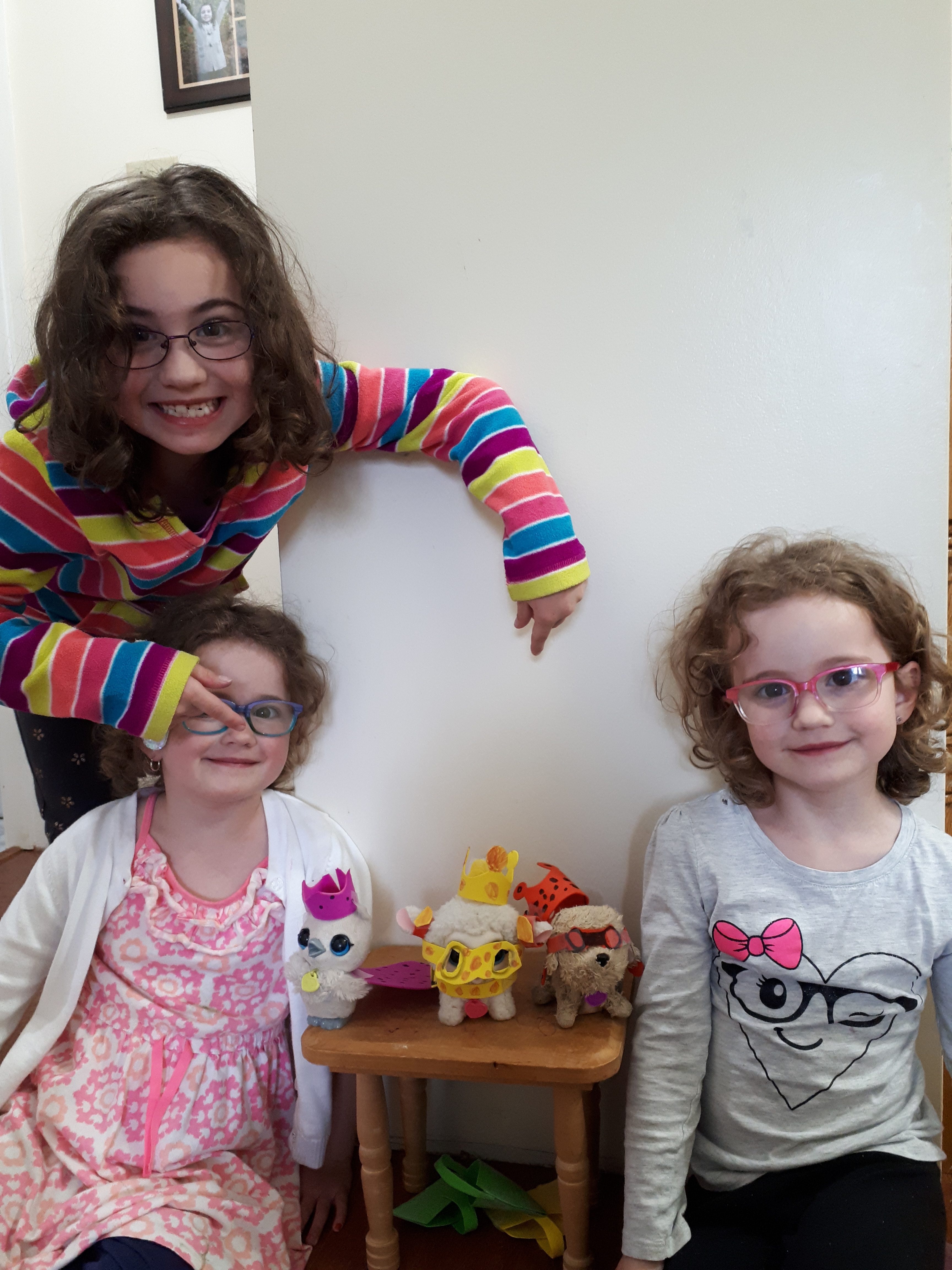 Claire, 7, Leah and Rebecca, 5