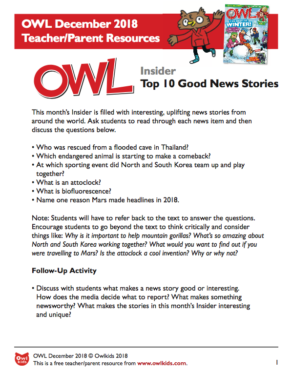 OWL Magazine: December Learning Resource