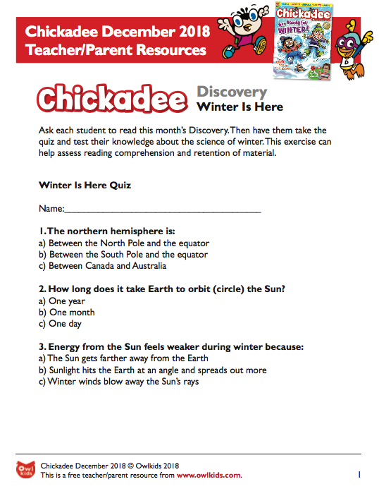 Chickadee Magazine: December Learning Resource