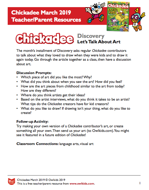 Chickadee Magazine March 2019 Learning Resource Cover