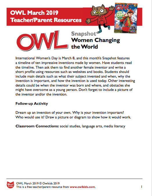 OWL Magazine March 2019 Learning Resource Cover