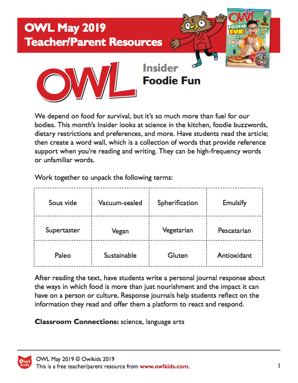OWL Magazine May 2019 Learning Resource Cover