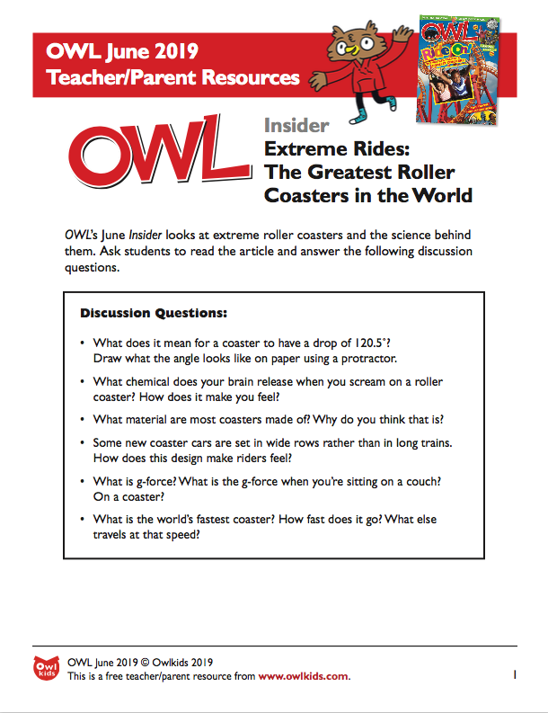 OWL Magazine June 2019 Learning Resource Cover