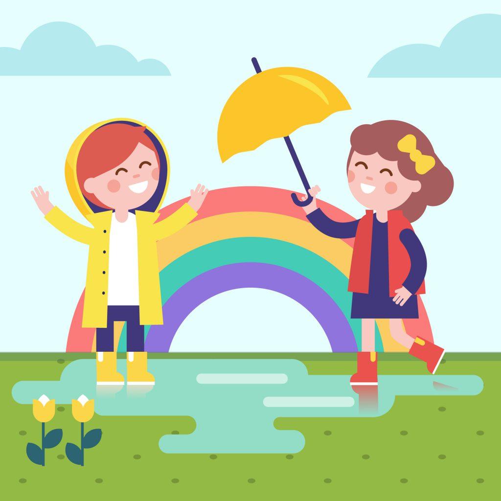 Children playing in the rain.
