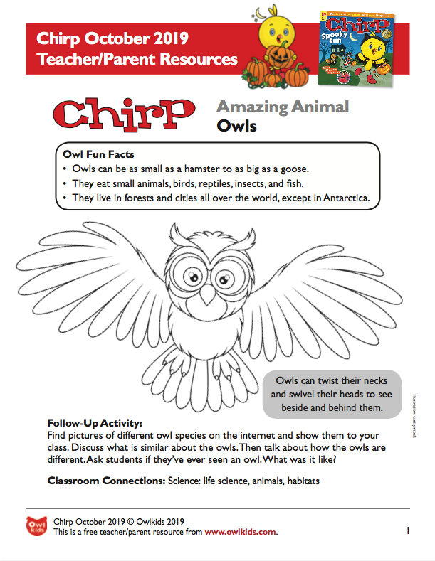 Chirp Magazine October 2019 Learning Resource Cover