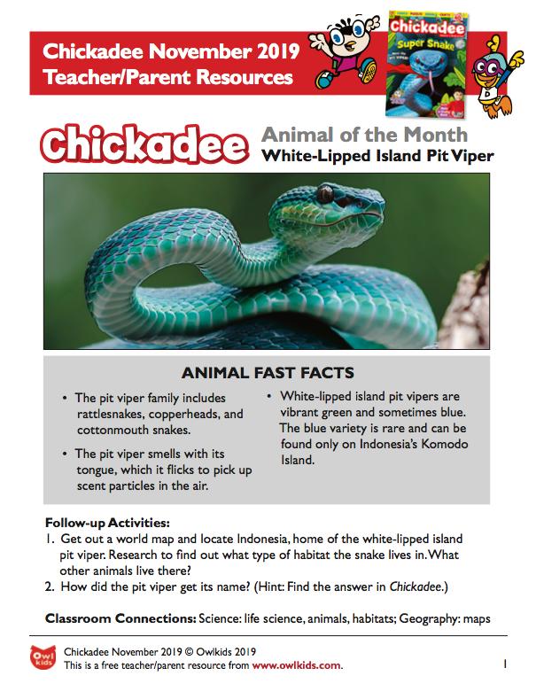 Chickadee Magazine November 2019 Learning Resource Cover