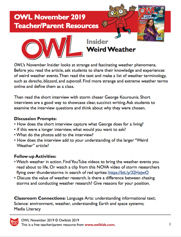 OWL Magazine November 2019 Learning Resource Cover