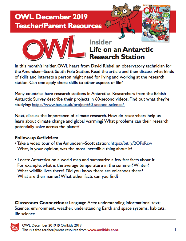 OWL Magazine December 2019 Learning Resource Cover
