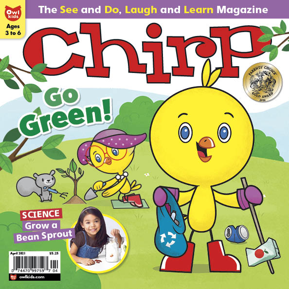 Chirp April issue Cover - Chirp picking up trash in park, Grandma planting tree in background